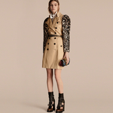 Burberry Cotton Gabardine Trench Coat with Leopard-print Sleeves
