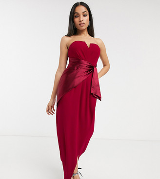 TFNC Petite Petite Bridesmaid bandeau midi wrap dress with satin front detail in mulberry-Red