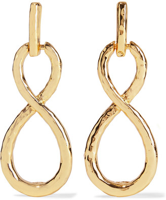 Kenneth Jay Lane Hammered 22-karat Gold-plated Earrings