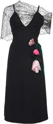 Prada One-Shoulder Lace V-Neck Floral Applique Midi Dress