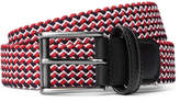 Andersons Anderson's - 3.5cm Leather-trimmed Woven Elastic Belt - Red