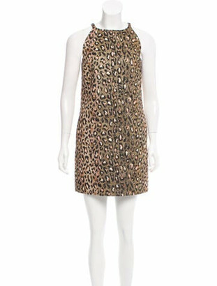 Saint Laurent Printed Mini Dress Gold