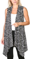 Brooke & Emma Women's Sweater Vests DT22 - Black Polka Dot Drape-Front Open Vest - Women