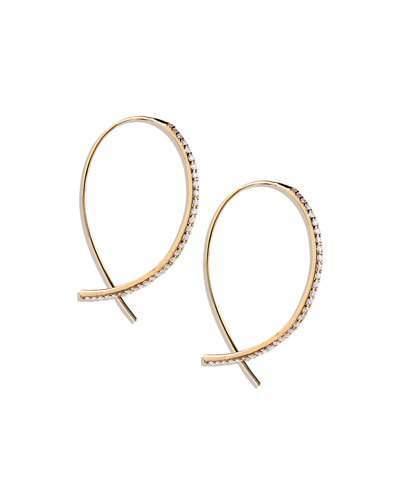 Lana Fatale Small Upside Down Hoops with Diamonds