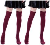 HDE 2 Pack Womens Solid Color Cable Knit Over the Knee Thigh High Stocking Socks