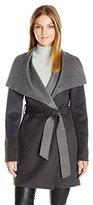 T Tahari Women's Ella Two-Tone Wool Wrap Coat with Oversized Collar