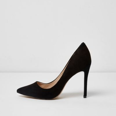 River Island Womens Black wide fit court shoes