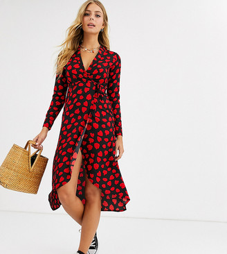 Wednesday's Girl midaxi wrap dress in heart print