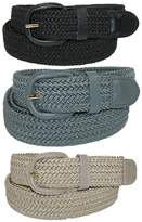 CTM® Men's Elastic Braided Stretch Belt (Pack of 3 Colors), 2XL