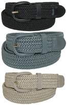 CTM® Men's Elastic Braided Stretch Belt (Pack of 3 Colors), Xlarge