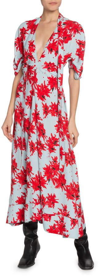 Proenza Schouler Floral-Splatter-Print Georgette V-Neck Dress