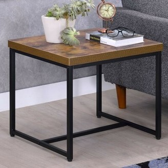 Williston Forge Campo Contemporary Rectangular Wood and Metal End Table
