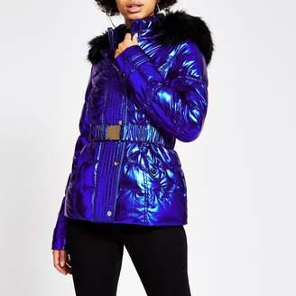 River Island Womens Blue metallic belted padded jacket
