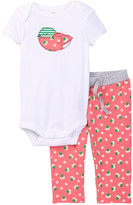 Nordstrom Short Sleeve Applique Bodysuit & Pant Set (Baby Girls)