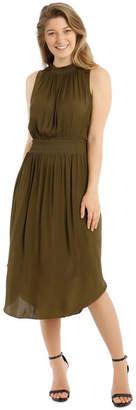 Wayne Cooper Solid Shirred Waist Dress