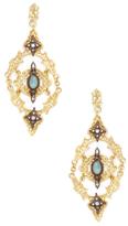 Armenta Old World 18K Gold, Chrysoprase, Moonstone & 0.22 Total Ct. Diamond Large Hanging Open Scroll Mesh Earrings