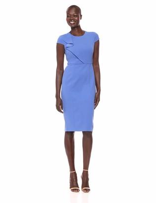 Donna Morgan Women's Cap Sleeve Crepe Dress with Asymmetrical Bodice