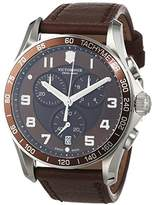 Victorinox Men's Quartz Watch with Black Dial Chronograph Display and Black Leather Strap 241653