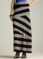 Max Studio Black Foldover Waist Asymmetric Stripe Maxi Dress
