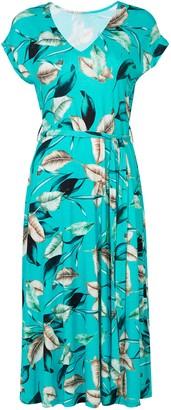 Wallis Blue Palm Print Midi Dress