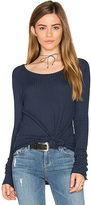 Chaser Thermal Open Neck Raglan Tee in Blue