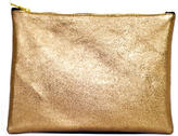 Sarah Baily Bronze & White Leather Mini Clutch