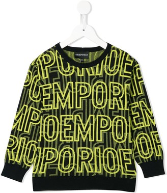 Emporio Armani Kids Intarsia Knit Branded Jumper