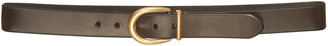 Prada Brown Leather Belt With Horseshoe Buckle
