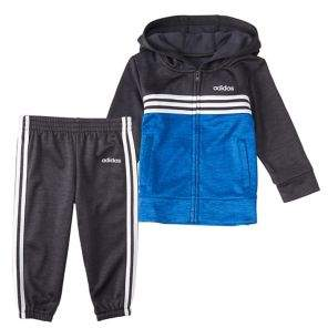 adidas Baby Boy's 2-Piece Zip-Front Melange Hooded Jacket & Joggers Set