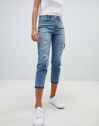 Hollister Dark destroyed girlfriend jeans