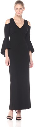 Xscape Evenings Women's Long Crepe Cold Shoulder Bell Sleeve Dress