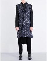 Comme Des Garcons Homme Plus Contrast-panel Floral-jacquard Coat