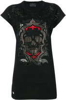 Philipp Plein embellished skull T-shirt - women - Cotton/Polyester/Polyurethane/Viscose - S