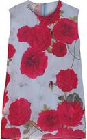 Giambattista Valli Floral-print Silk-chiffon Top - Sky blue