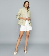 Reiss Eden - Cotton-blend Utility Jacket in Light Green