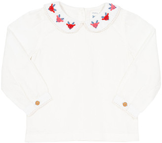 Kite Girls' Blouses Cream - Cream Reindeer Peter Pan-Collar Organic Cotton Long-Sleeve Top - Newborn, Infant, Toddler & Girls