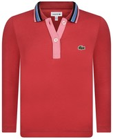Lacoste Girls Red Jersey Polo Shirt
