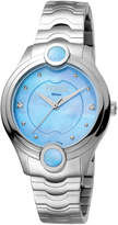 Ferré Milano Women's 34mm Stainless Steel 3-Hand Inlay Watch with Bracelet, Steel/Light Blue
