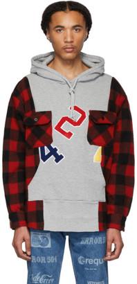 424 Grey Wool Reworked Workshirt Hoodie