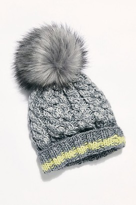 Free People Happy Trails Stripe Pom Beanie