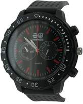 Crosshatch Men's Quartz Watch with Black Dial Analogue Display and Black Silicone Strap CRS18/A