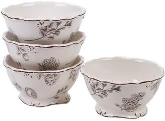 Certified International Vintage Cream Floral 4-pc. Ice Cream Bowl Set