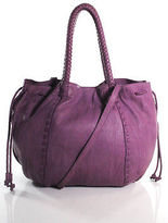 Linea Pelle Medium Purple Leather Whipstitch Contrast Tote Handbag