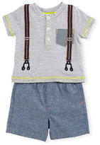 Miniclasix Short-Sleeve Striped Henley Tee w/ Chambray Shorts, Gray, Size 6-24 Months