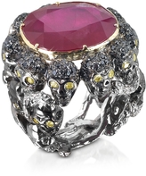 Bernard Delettrez Skulls and Snakes Black Ring w/Glass-treated Ruby