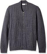 Calvin Klein Men's Full Zip Lambswool Textured Baseball Sweater