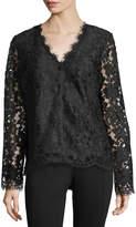 Neiman Marcus Button-Front Lace Jacket, Black