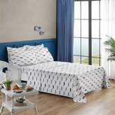 Brielle Whales Flannel Twin/Twin XL Sheet Set in Grey/White