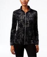 Karen Scott Petite Velour Printed Mock-Neck Jacket, Only at Macy's