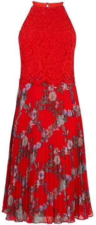 Oasis Bloom Lace Top Pleated Midi Dress